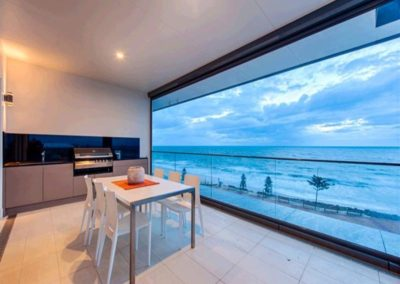Motorised outdoor blinds - open to allow the outside in